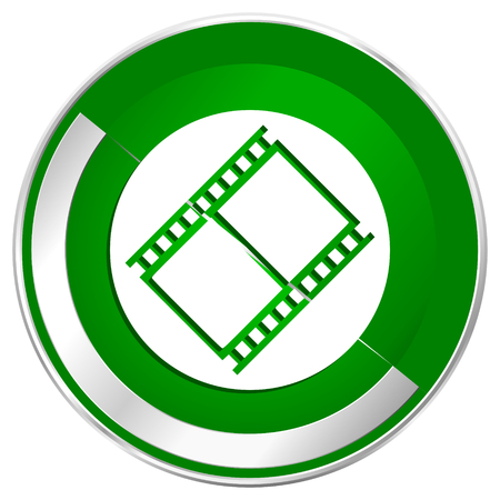 Film silver metallic border green web icon for mobile apps and internet.