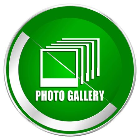 Photo gallery silver metallic border green web icon for mobile apps and internet.