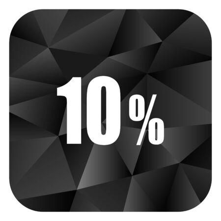 10 percent black color web modern brillant design square internet icon on white background.