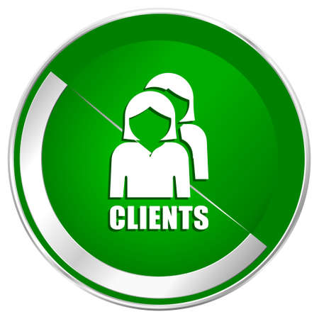 account executive: Clients silver metallic border green web icon for mobile apps and internet.