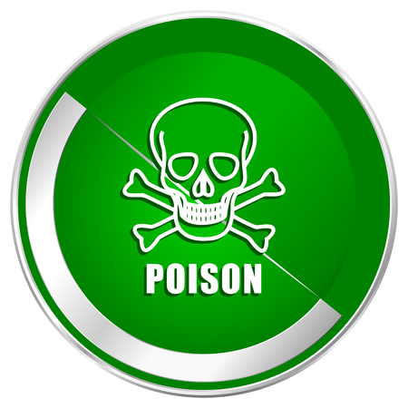 Poison skull silver metallic border green web icon for mobile apps and internet. Stock Photo