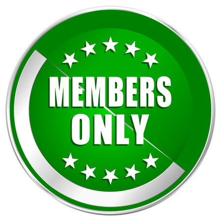 members only: Members only silver metallic border green web icon for mobile apps and internet.