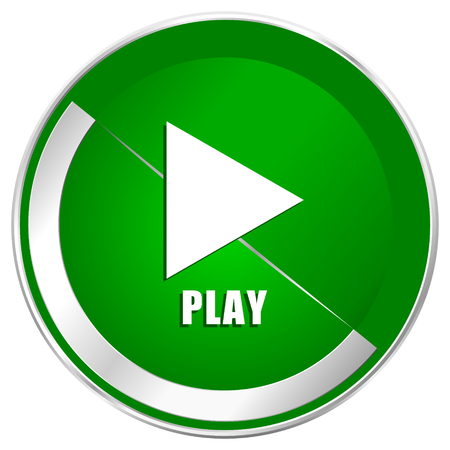 eject icon: Play silver metallic border green web icon for mobile apps and internet.