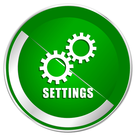 Settings silver metallic border green web icon for mobile apps and internet.