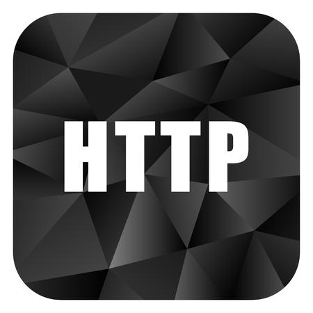 domains: Http black color web modern brillant design square internet icon on white background. Stock Photo