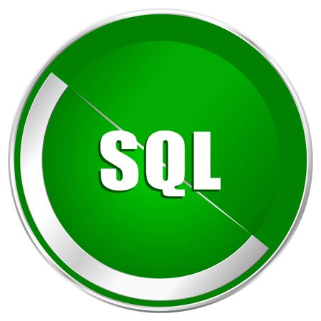 Sql silver metallic border green web icon for mobile apps and internet.