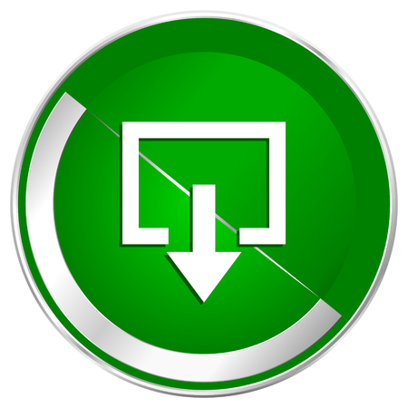 Exit silver metallic border green web icon for mobile apps and internet. Stock Photo
