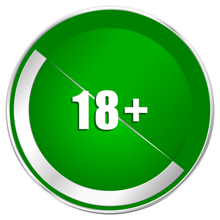 Adults silver metallic border green web icon for mobile apps and internet.