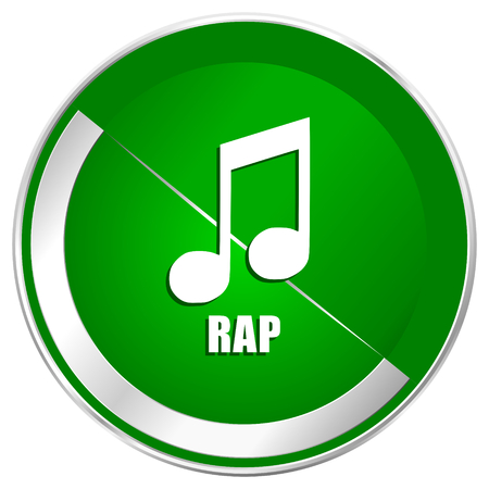 rapping: Rap music silver metallic border green web icon for mobile apps and internet.