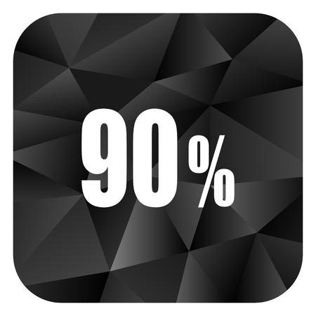 90 percent black color web modern brillant design square internet icon on white background.