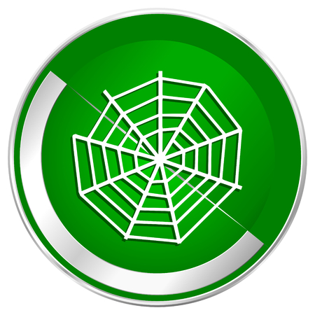 Spider web silver metallic border green web icon for mobile apps and internet.