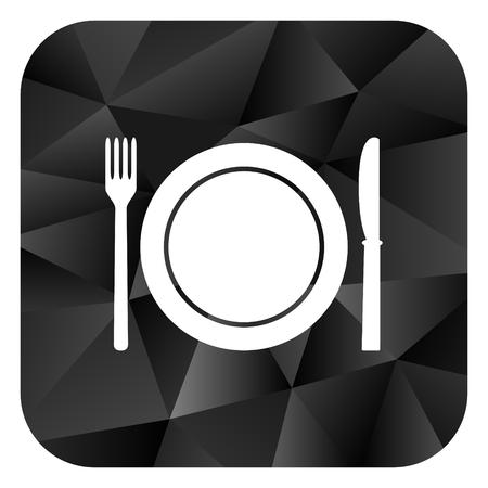 Restaurant black color web modern brillant design square internet icon on white background.