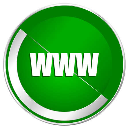domain: WWW silver metallic border green web icon for mobile apps and internet.