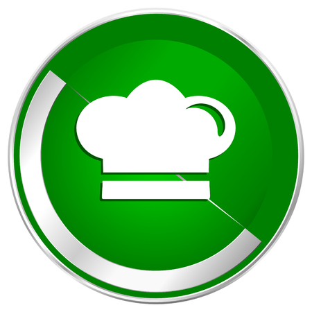 Cook silver metallic border green web icon for mobile apps and internet. Stock Photo