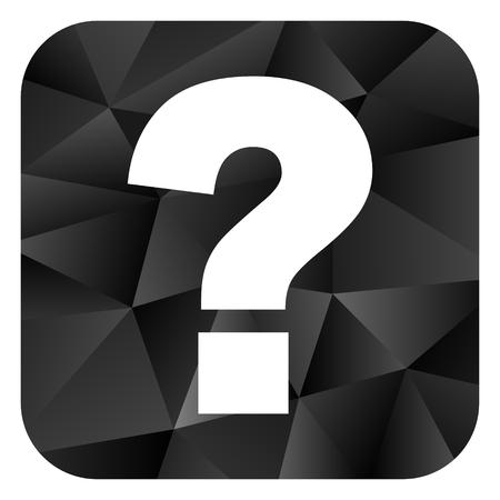 Question mark black color web modern brillant design square internet icon on white background.
