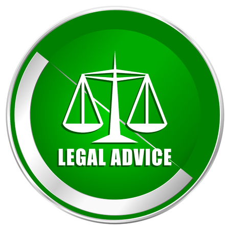 equidad: Legal advice silver metallic border green web icon for mobile apps and internet.