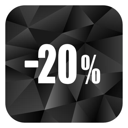 20 percent sale retail black color web modern brillant design square internet icon on white background.