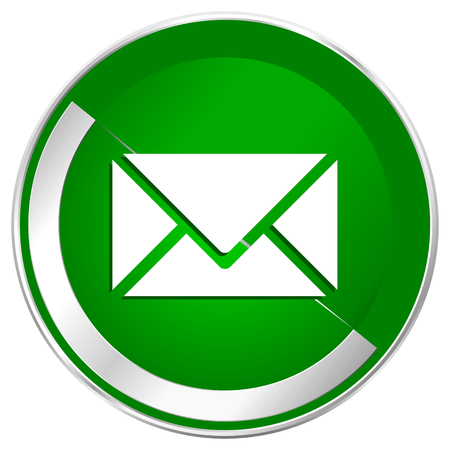 Email silver metallic border green web icon for mobile apps and internet. Stock Photo