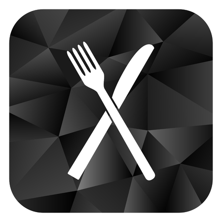 Restaurant black color web modern brillant design square internet icon on white background.