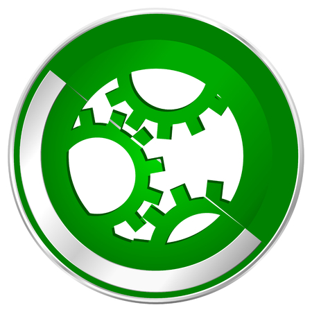 Gear silver metallic border green web icon for mobile apps and internet.