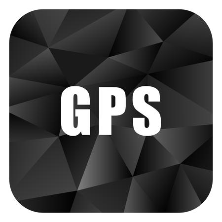 Gps black color web modern brillant design square internet icon on white background.
