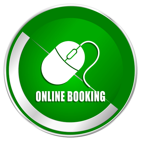 Online booking silver metallic border green web icon for mobile apps and internet. Stock Photo