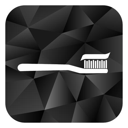 Toothbrush black color web modern brillant design square internet icon on white background. Stock Photo