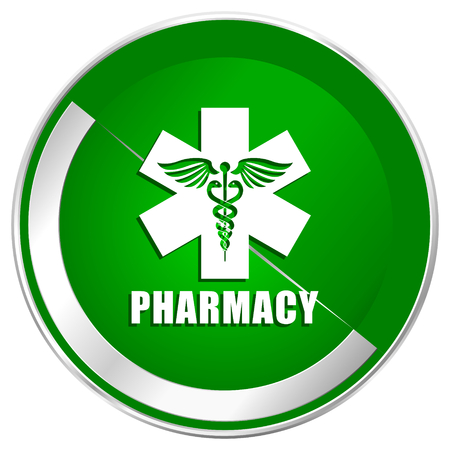 esculapio: Pharmacy silver metallic border green web icon for mobile apps and internet. Foto de archivo