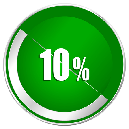 10 percent silver metallic border green web icon for mobile apps and internet.