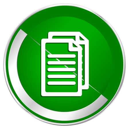 Document silver metallic border green web icon for mobile apps and internet.