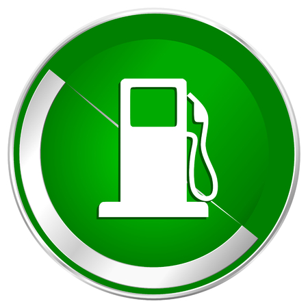 Petrol silver metallic border green web icon for mobile apps and internet.