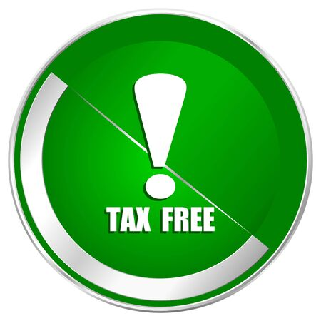 Tax free silver metallic border green web icon for mobile apps and internet. Stock Photo