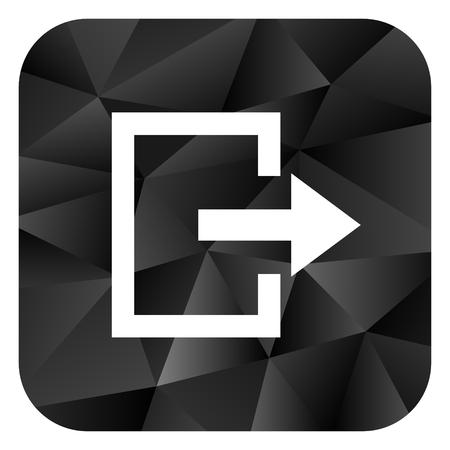 Exit black color web modern brillant design square internet icon on white background.