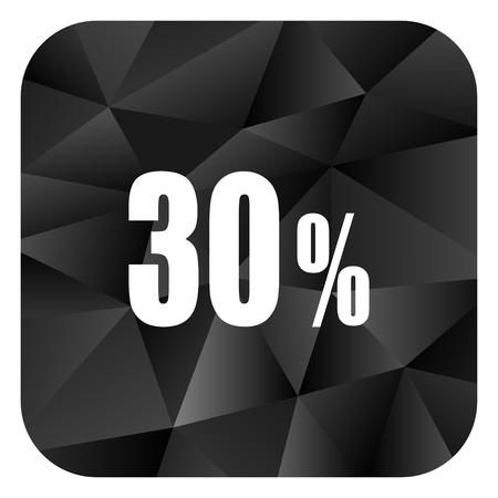 30 percent black color web modern brillant design square internet icon on white background. Stock Photo