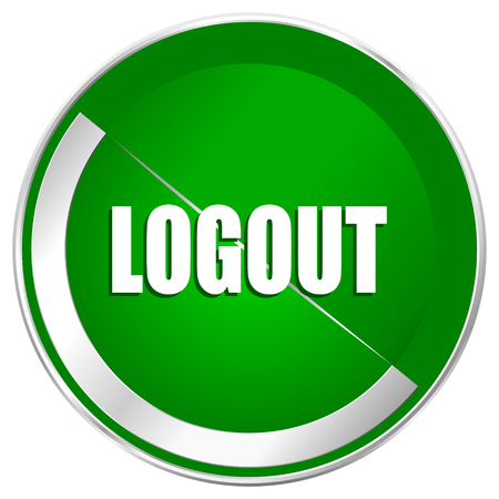 Logout silver metallic border green web icon for mobile apps and internet.