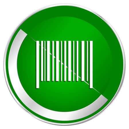 Barcode silver metallic border green web icon for mobile apps and internet. Stock Photo