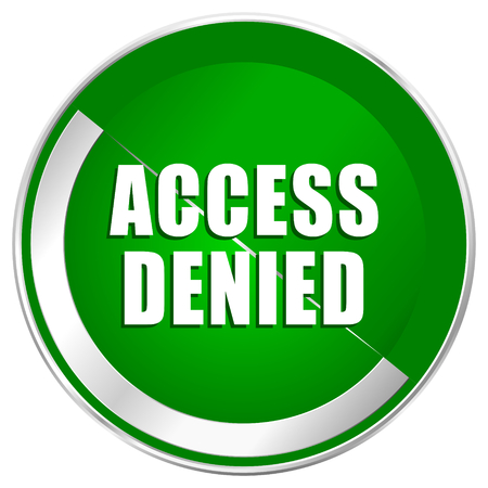 Access denied silver metallic border green web icon for mobile apps and internet. Stock Photo