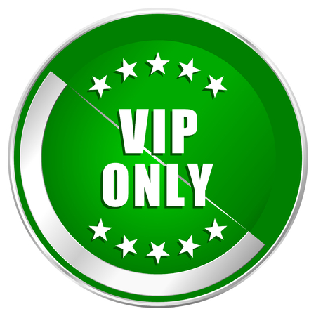 private club: Vip only silver metallic border green web icon for mobile apps and internet.