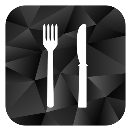 Eat black color web modern brillant design square internet icon on white background. Reklamní fotografie
