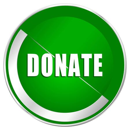 Donate silver metallic border green web icon for mobile apps and internet.