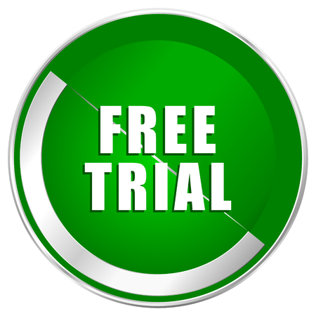 Free trial silver metallic border green web icon for mobile apps and internet.