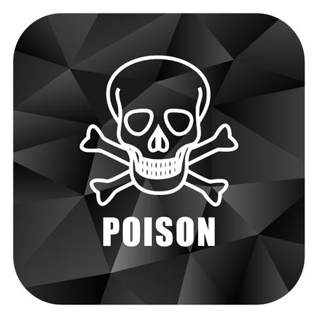 Poison skull black color web modern brillant design square internet icon on white background.