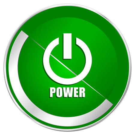 shutdown: Power silver metallic border green web icon for mobile apps and internet. Stock Photo