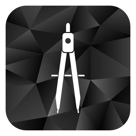 Learning black color web modern brillant design square internet icon on white background.