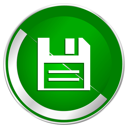 Disk silver metallic border green web icon for mobile apps and internet. Stock Photo