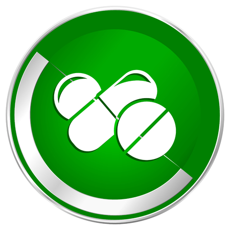 granule: Medicine silver metallic border green web icon for mobile apps and internet.