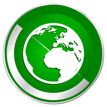 parallel world: Earth silver metallic border green web icon for mobile apps and internet. Stock Photo