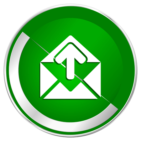 letras cromadas: Email silver metallic border green web icon for mobile apps and internet. Foto de archivo