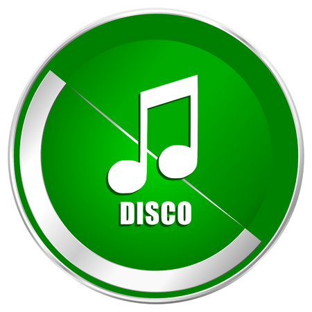 Disco music silver metallic border green web icon for mobile apps and internet.