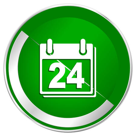 Calendar silver metallic border green web icon for mobile apps and internet. Stock Photo